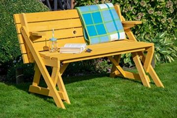 dobar Praktische Garten Sitzbank 2 in 1 Kombination aus Tisch und Bank FSC-Holz, Sitzgarnitur, Hellbraun, 138 x 144 x 77 cm - 6