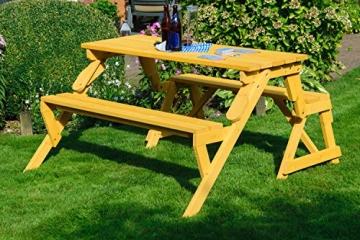 dobar Praktische Garten Sitzbank 2 in 1 Kombination aus Tisch und Bank FSC-Holz, Sitzgarnitur, Hellbraun, 138 x 144 x 77 cm - 7