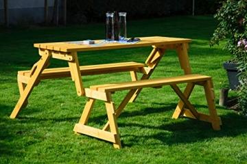 dobar Praktische Garten Sitzbank 2 in 1 Kombination aus Tisch und Bank FSC-Holz, Sitzgarnitur, Hellbraun, 138 x 144 x 77 cm - 8