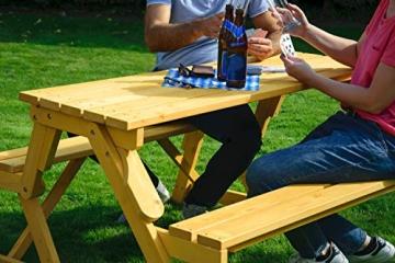 dobar Praktische Garten Sitzbank 2 in 1 Kombination aus Tisch und Bank FSC-Holz, Sitzgarnitur, Hellbraun, 138 x 144 x 77 cm - 9