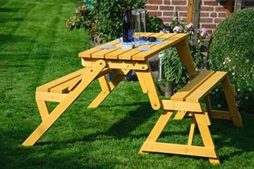 dobar Praktische Garten Sitzbank 2 in 1 Kombination aus Tisch und Bank FSC-Holz, Sitzgarnitur, Hellbraun, 138 x 144 x 77 cm - 10