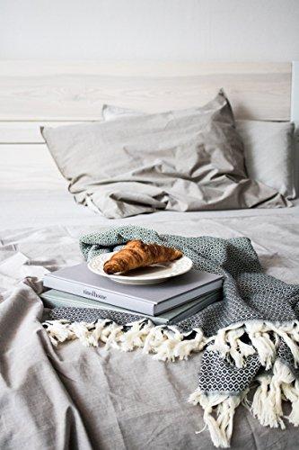 Elmas Home Decke WAVY DIAMOND aus 100% Baumwolle - Tagesdecke / Couchdecke / Überwurf - 240 x 200cm XXL (Samt-Schwarz) - 3