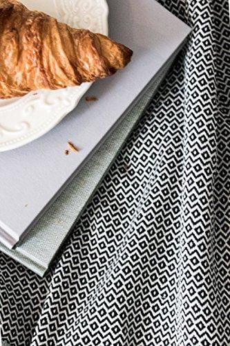 Elmas Home Decke WAVY DIAMOND aus 100% Baumwolle - Tagesdecke / Couchdecke / Überwurf - 240 x 200cm XXL (Samt-Schwarz) - 5
