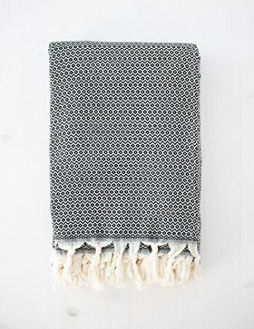 Elmas Home Decke WAVY DIAMOND aus 100% Baumwolle - Tagesdecke / Couchdecke / Überwurf - 240 x 200cm XXL (Samt-Schwarz) - 6
