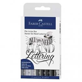 Faber-Castell 267118 - Tuschestift Pitt Artist Pen Lettering Starter Set, 9-teilig (5 Pitt Artist Pens mit Pinselspitze, 2 Pitt Artist Pen Fineliner, 1 Castell 9000 Bleistift B, 1 Spitzer) - 1