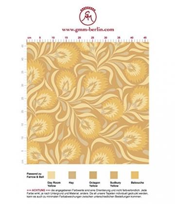 Feine, florale Jugendstil Tapete mit großen Blüten in gelb angepasst an Farrow & Ball Wandfarben- Vlies Tapete Blumen - Klassische Wanddeko - GMM Design Tapete - Wandtapete - Wand Dekoration für edle Wohnakzente (Muster 20 x 46,5cm) - 2