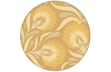 Feine, florale Jugendstil Tapete mit großen Blüten in gelb angepasst an Farrow & Ball Wandfarben- Vlies Tapete Blumen - Klassische Wanddeko - GMM Design Tapete - Wandtapete - Wand Dekoration für edle Wohnakzente (Muster 20 x 46,5cm) - 3