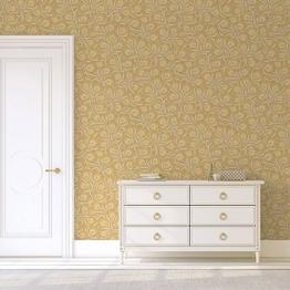 Feine, florale Jugendstil Tapete mit großen Blüten in gelb angepasst an Farrow & Ball Wandfarben- Vlies Tapete Blumen - Klassische Wanddeko - GMM Design Tapete - Wandtapete - Wand Dekoration für edle Wohnakzente (Muster 20 x 46,5cm) - 1