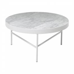 ferm LIVING - Marble Couchtisch groß - marmor weiß/H 35cm/Ø 70cm/Gestell weiß pulverbeschichtet