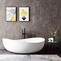 Freistehende Badewanne aus Mineralguss WAVE STONE weiß - 180 x 110 cm - Wählbar in Matt oder Hochglanz Matt - BERNSTEIN