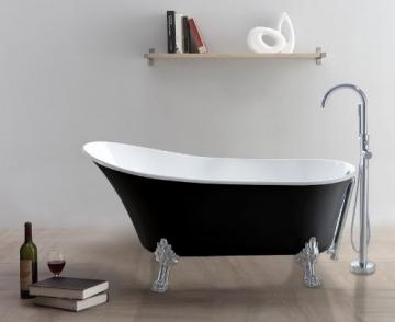 freistehende Badewanne CLASSICO-SW (schwarz-weiß) - 1