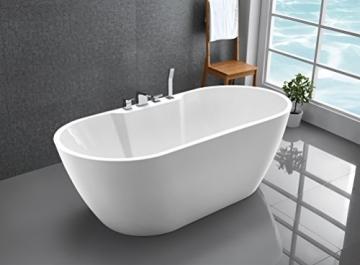 Freistehende Badewanne JAZZ PLUS Acryl weiß - 170 x 80 cm, Vormontage:Mit Vormontage (5 Werktage), Wannenarmatur:Mit Wannenarmatur 6080 - 3