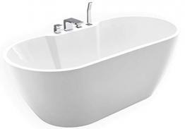 Freistehende Badewanne JAZZ PLUS Acryl weiß - 170 x 80 cm, Vormontage:Mit Vormontage (5 Werktage), Wannenarmatur:Mit Wannenarmatur 6080 - 1