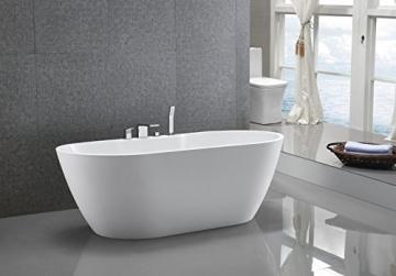 Freistehende Badewanne JAZZ PLUS Acryl weiß - 170 x 80 cm, Vormontage:Mit Vormontage (5 Werktage), Wannenarmatur:Mit Wannenarmatur 6080 - 4