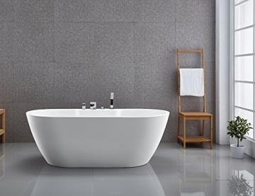 Freistehende Badewanne JAZZ PLUS Acryl weiß - 170 x 80 cm, Vormontage:Mit Vormontage (5 Werktage), Wannenarmatur:Mit Wannenarmatur 6080 - 5