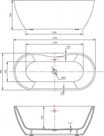 Freistehende Badewanne JAZZ PLUS Acryl weiß - 170 x 80 cm, Vormontage:Mit Vormontage (5 Werktage), Wannenarmatur:Mit Wannenarmatur 6080 - 7