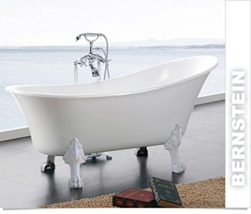 Freistehende Badewanne PARIS Acryl weiß BS-830 176 x 71 cm - Metallfüße wählbar, Standarmatur:Inkl. Standarmatur 1414 Chrom, Farbe der Füße:gold - 2
