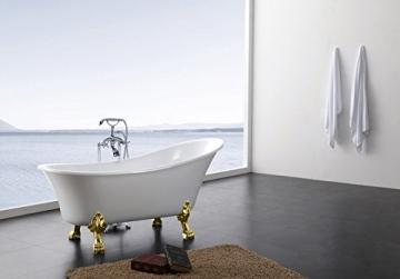 Freistehende Badewanne PARIS Acryl weiß BS-830 176 x 71 cm - Metallfüße wählbar, Standarmatur:Inkl. Standarmatur 1414 Chrom, Farbe der Füße:gold - 3