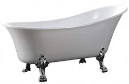 Freistehende Badewanne PARIS Acryl weiß BS-830 176 x 71 cm - Metallfüße wählbar, Standarmatur:Inkl. Standarmatur 1414 Chrom, Farbe der Füße:gold - 1