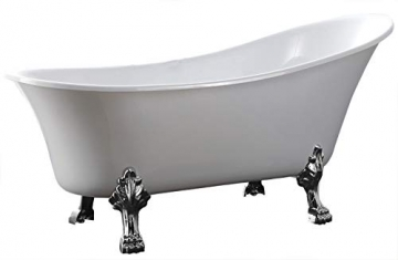 Freistehende badewanne paris acryl wei bs 830 176 x 71 cm metallf e w hlbar standarmatur - Standarmatur freistehende badewanne ...