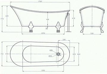 Freistehende Badewanne PARIS Acryl weiß BS-830 176 x 71 cm - Metallfüße wählbar, Standarmatur:Inkl. Standarmatur 1414 Chrom, Farbe der Füße:gold - 8