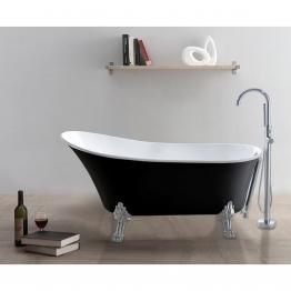 freistehende Badewanne RETRO (schwarz/weiß) - ALPHABAD