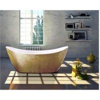 Freistehende Badewanne SIENA Acryl Gold 173 x 73 cm - Blattgold-Oberfläche - BERNSTEIN