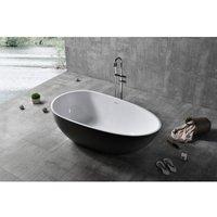 Freistehende Badewanne VELA aus Mineralguss Solid Stone - Farbe und Größe wählbar Schwarz (hochglanz), 170 x 86 cm - BERNSTEIN