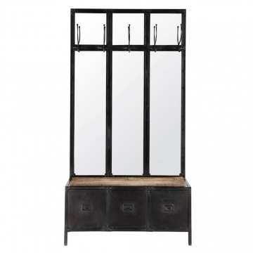 Garderobenm�bel aus Metall mit Spiegel schwarz Scott