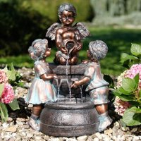 Gartenbrunnen Engelskinder, 63x38x45 cm, Polyresin, bronze