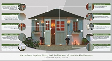 Gartenhaus Lupinus S8207 inkl. Fußboden - 28 mm Blockbohlenhaus, Grundfläche: 7,78 m², Zeltdach - 2