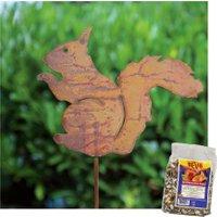 Gartenstecker 'Eichhörnchen' inkl. Eichhörnchen-Futter