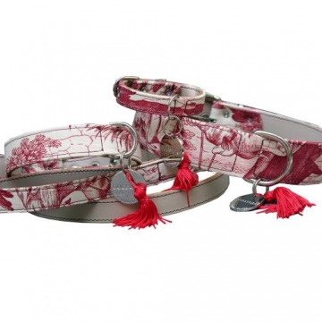 Halsband Toile de Jouy, rot