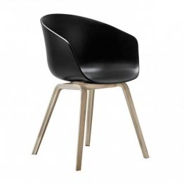 HAY - About a Chair 22 Armlehnstuhl - soft schwarz/Polypropylen/59x79x52cm/Standardgleiter Kunststoff/Gestell Eiche matt lackiert