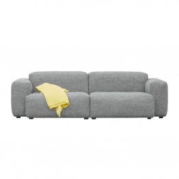 HAY - Mags Soft 2,5-Sitzer Sofa Armlehne niedrig - hellgrau/Naht hellgrau/Stoff Divina Melange 120/BxTxH 238x103,5x67cm/Filzgleiter/Füße Kiefernho