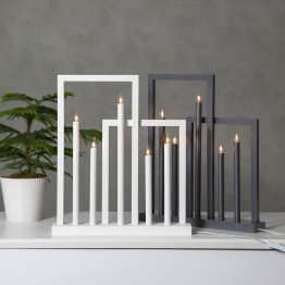 Holz-Fensterleuchter Frame, 5-flammig, weiß