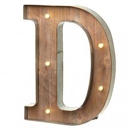 Holz-Metall Buchstabe beleuchtet, warmweißes LED Licht, D - 1