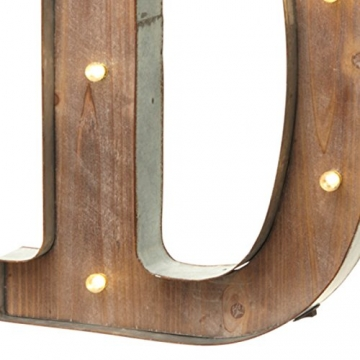 Holz-Metall Buchstabe beleuchtet, warmweißes LED Licht, D - 2