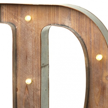 Holz-Metall Buchstabe beleuchtet, warmweißes LED Licht, D - 3