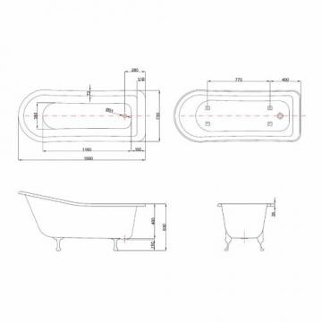 Badewanne Höhe.Hudson Reed Freistehende Badewanne Kensington Mit Füßen Höhe 730 Mm X Länge 1700 Mm Lucite Acryl Weiß