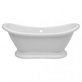 Hudson Reed Meldon Freistehende Badewanne - Acrylbadewanne in Weiß mit Sockel - 1750 x 725 mm - 190 L Fassungsvermögen - 1