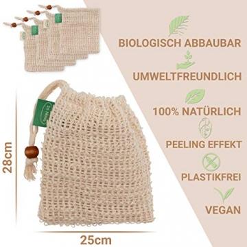 Io Nova 4x Sisal Seifensäckchen | zweifarbige Baumwoll-Labels | natürliches Körper-Peeling - 2