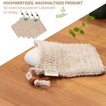 Io Nova 4x Sisal Seifensäckchen | zweifarbige Baumwoll-Labels | natürliches Körper-Peeling - 4