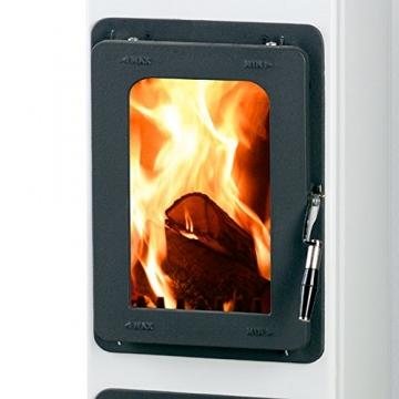 Kaminofen Bozen 91x28,8x33cm 5,0KW weiß Feuerstelle Ofen Kamin Werkstattofen - 2