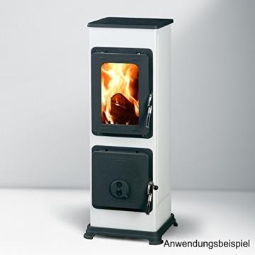 Kaminofen Bozen 91x28,8x33cm 5,0KW weiß Feuerstelle Ofen Kamin Werkstattofen - 3