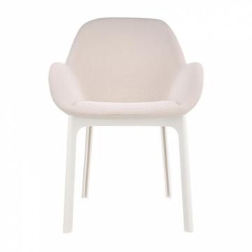 Kartell - Clap Armlehnstuhl Stoff - beige/weiß/Sitzfläche beige/BxHxT 58x85x56,5cm/Gestell weiß
