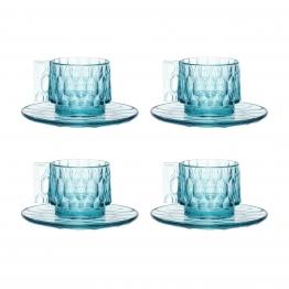 Kartell - Jellies Family Tasse mit Untertasse Set - blau/transparent/4x Tasse H: 5,5cm/4x Unterteller H 1cm / Ø 12cm