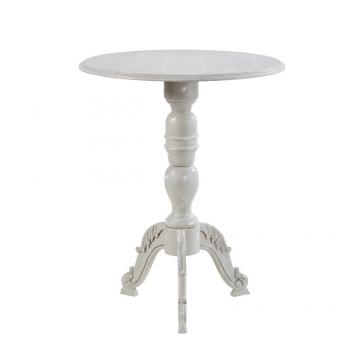 Kleiner runder Tisch, grau in Antikoptik