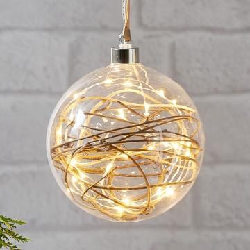 LED-Dekokugel Glow klar, Rattan Ø 15 cm