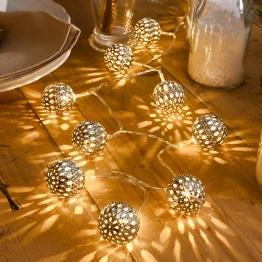 LED-Lichterkette Metallkugel silber 10-flg.